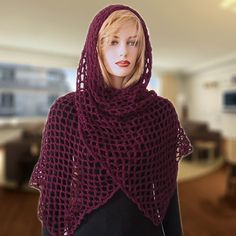 I LOVE this and it is SO easdy !!!!!!Free Crochet Pattern: Fanchon Diamond Mesh Shawl