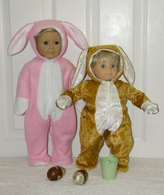 Hoppity Bunny Suit PDF pattern for 18 in Doll and 15 by Genniewren