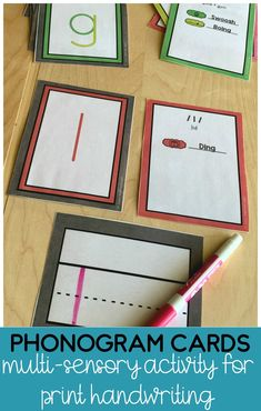These phonogram cards are great for teaching the correct formation for writing letters.  Young students will love sounds and movements that go with each letter stroke!  The letter strokes are color coded and includes primary and advanced phonemes.  Great multi-sensory handwriting activity for preschool, kindergarten and 1st grade! Teaching Phonics, Phonics Activities, Preschool Learning, Sensory Activities, Kindergarten Activities, Primary Teaching, Teaching Resources, Print Handwriting, Handwriting Practice
