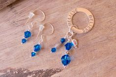 BELIEVE pendant and earrings set sterling by CreativeWorkStudios Earring Set, Swarovski, Drop Earrings, Personalized Items, Pendant, Jewelry, Jewlery, Bijoux, Schmuck