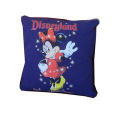 Recycled Tshirt Pillow - Disneyland Minnie Mouse throw pillow travel cushion via Etsy