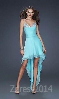You Will Become Showy With Such A Cheap La Femme Dresses Short Cute Chiffon Aqua Prom Dresses