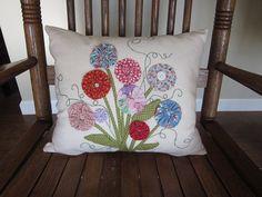 Yo Yo Flower Bouquet Decorative Pillow  by simplyzofiastitchery, $30.00