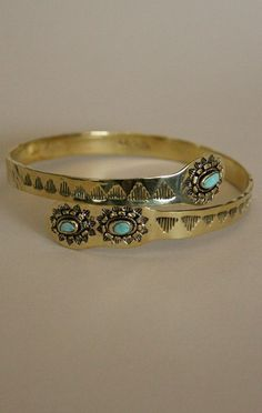 Turquoise arm band #gold #jewelry #bracelet