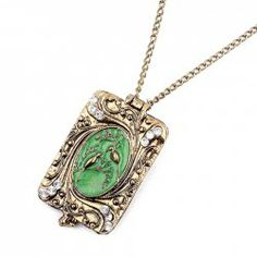 Exquisite Carved Bird Rhinestoned Rectangle Byobu Pendant Alloy Sweater Chain Necklace For Women