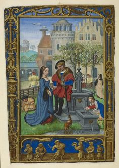 From the Medieval & Earlier Manuscripts blog post 'A Calendar Page for April 2013' Image: Calendar page for April with a courting scene, from the Golf Book (Book of Hours, Use of Rome), workshop of Simon Bening, Netherlands (Bruges), c. 1540,