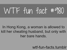the funny thing here is why the woman allowed to kill her cheating husband just . the funny thing here is why the woman allowed to kill her cheating husband just with her bare hands? whats the deference that she will make if she used a gun? Wow Facts, Wtf Fun Facts, True Facts, Funny Facts, Funny Quotes, Funny Memes, Random Facts, Strange Facts, Creepy Facts