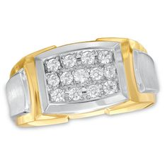 Men's 1/2 CT. T.W. Diamond Triple Row Ring in 10K Two-Tone Gold
