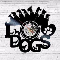 I Love Dog Dogs Heart Vinyl Record Room Wall Clock Home Animal Art Lp Gift Black