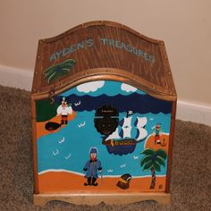 Shop for on Etsy, the place to express your creativity through the buying and selling of handmade and vintage goods. Pirate Treasure Chest, Pirate Theme, Toy Boxes, Toy Chest, Pirates, Hand Painted, Unique Jewelry, Handmade Gifts, Etsy