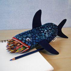 Pencil Case for Kids - Shark Bag - Boys Gift: Deep Sea Blue Shark Bite Fabric Crafts, Sewing Crafts, Sewing Projects, Zipper Pencil Case, Zipper Pouch, Pencil Cases, Pencil Pouch, Couture Bb, Sewing For Kids