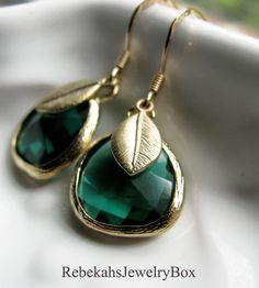 Peacock Green Crystal Earrings with Brushed by RebekahsJewelryBox, $19.50