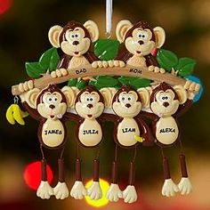 Monkey Family Ornaments and many more, stockings too.  These are a great family gift idea this holiday season.  The site seems to get great reviews, have you ordered from them?