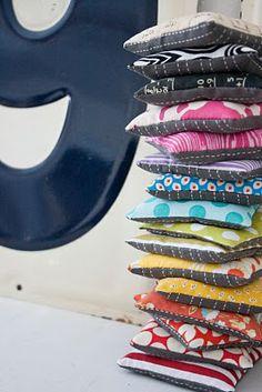 a rainbow of beanbags via Craftyblossom