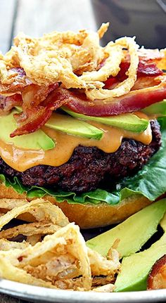 WESTERN BACON BURGERS WITH BBQ MAYO AND CRISPY ONION STRINGS RECIPE