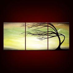 #Etsy mattsart - Tree silhouette painting. $169