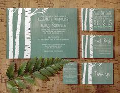 Country Birch Tree Wedding Invitation Set/Suite, Printed/Printable Wedding…