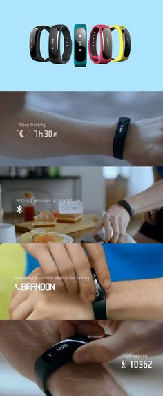 The Huawei fitness tracker, the TalkBand B1's display pops out and becomes a Bluetooth headset.