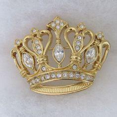 Vintage Rhinestone Crown Pin Brooch KJL for Avon Kenneth Jay Lane #KennethJayLane