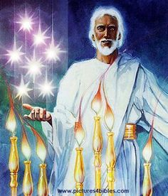 """John turns around to see who spoke to him with the voice of a trumpet. The first thing he sees is seven golden lamp stands. Later, we see that the lamp stands are the seven churches listed in Revelation 1:11:  Daniel 7:13 - """"I was watching in the night visions, And behold, One like the Son of Man, Coming with the clouds of heaven! He came to the Ancient of Days, And they brought Him near before Him."""" http://www.trackingbibleprophecy.com/revelation1C.php"""