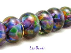 SRA Handcrafted Artisan Lampwork Bead Set  Jewels In by LizBeads, $50.00