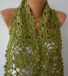 Crocheted Flower Scarf from fatwoman on Etsy