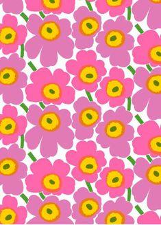 ウニッコ新色2 Marimekko Wallpaper, Marimekko Fabric, Pattern Wallpaper, Textile Patterns, Flower Patterns, Print Patterns, Pattern Art, Pattern Design, Disney Wallpaper
