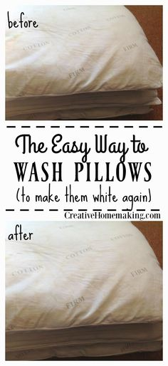 Easy do-it-yourself tip for washing your old, dirty pillows to make them white again.