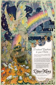 1920s vintage ART NOUVEAU Butterfly Fairy Rainbow Jewel Fantasy French Perfume Bottle Fine Art POSTER Print on Etsy, $9.99
