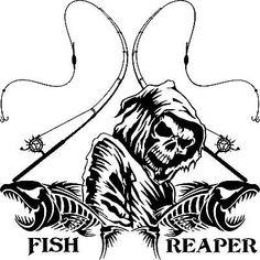 Fishing Fish Grim Reaper Skull Custom Text Car Truck Window Vinyl Decal Sticker - x Fish Drawings, Gone Fishing, Grim Reaper, Fish Art, Fishing Shirts, Vinyl Designs, Vinyl Decals, Car Decals, Colorful Backgrounds