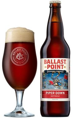 Ballast Point Piper Down Scottish Ale ♦ Clear red pour with a nice khaki head, great lacing. Malty aroma, bready, caramel, toasted caramel, biscuits, lightly nutty. Lightly sweet flavor, nutty, biscuit, caramel, toasty. Not bad.