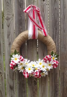 Daisy Gingham Summer Wreath by TheEducatedOwl on Etsy