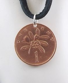 Jamaica Coin Necklace 1 Cent Coin Pendant by AutumnWindsJewelry