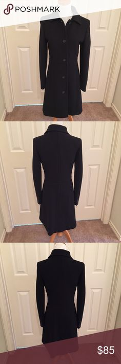 """J. Crew Black Wool Blend Winter Coat 6 EUC. Worn only 4-5 times. Princess seams, gorgeous lining, very flattering. Measurements while lying flat Waist 15"""" Armpit to armpit 17"""" Length (front collar to hem) 34.5"""" Sizing runs small. Would fit a 2-4 J. Crew Jackets & Coats"""
