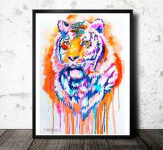 Tiger watercolor painting print animal illustration by SlaviART Art Watercolor, Watercolor Animals, Painting Prints, Painting & Drawing, Tiger Painting, Tiger Drawing, Tiger Art, Arte Pop, Love Art