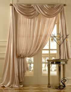 Softline Home Fashions Silkanza drapes with scarf valance