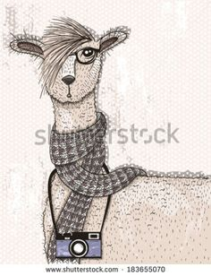 Cute hipster lama with photo camera, glasses and scarf. alpaca, alpaca, alpaca…
