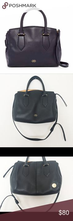 * Vince Camuto * Lenix Leather Satchel Dark Blue ( purple underton) Leather on the outside Orange Leather in the upper inside which gives a peek a boo effect. Comes with Dustbag . Pre loved with some Wear in the inside please view the two pictures. Vince Camuto Bags Satchels