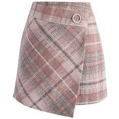Chicwish Tender  Tartan Tweed Flap Skirt in Pink (125 BRL) ❤ liked on Polyvore featuring skirts, mini skirts, bottoms, pink, saias, plaid mini skirt, mini skirt, short plaid mini skirt, red mini skirt and pink mini skirt