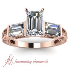 Emerald Cut and Straight Baguette Diamonds 14K Rose Gold Three Stone Engagement Ring in Bar Setting || Spout Ring