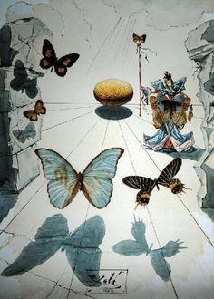 salvador dali paintings | Salvador Dali Paintings - Salvador Dali BUTTERFLIES Painting