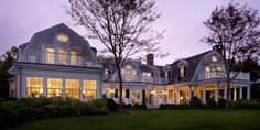 Patrick Ahearn, Architect - Planting Field Way, Edgartown MA, rear elevation at twilight.