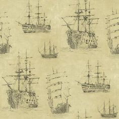 Neutral Nautical Ships Wallpaper