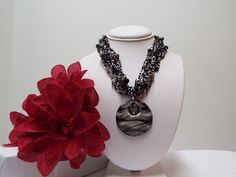 """Black White Glass Pendant Necklace Multiple Rows Pretty Beads 18"""" Jewelry #FashionJewelry #Dayoreveningnecklace"""