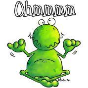 Zeit zum Ohmmsen. Lustiges Yoga Frosch Cartoon von modartis.net