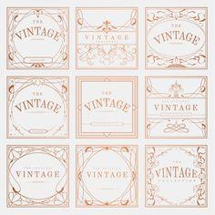 Images Vintage, Vintage Art, Vintage Designs, Art Nouveau, Bronze Art, Vintage Banner, Branding Design, Logo Design, Card Patterns
