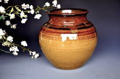 Soto Amber Wide Mouth Pottery Flower Vase by darshanpottery