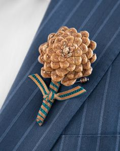 "Here's an alternative to the typical buttonhole bloom: Create a boutonniere from the ""flower"" that appears at the bottom of every pinecone."
