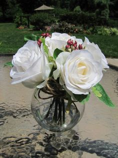 Silk Flower ArrangementWhite Roses in Glass Vase by FlowerIsland, $19.00