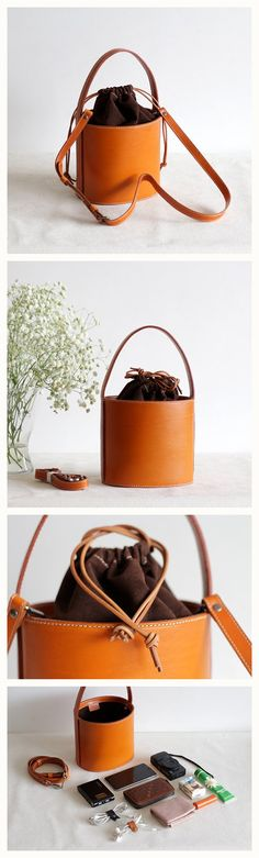 Handmade Women's FashionVegetable Tanned  Leather Bag Handbag Shoulder Bag Cross Body Bag  Bucket bag Small
